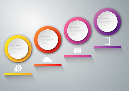 Vector illustration infographics paper circles with shadows.