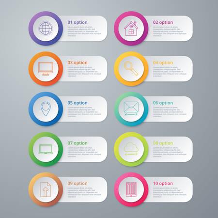 Vector illustration infographics ten options.
