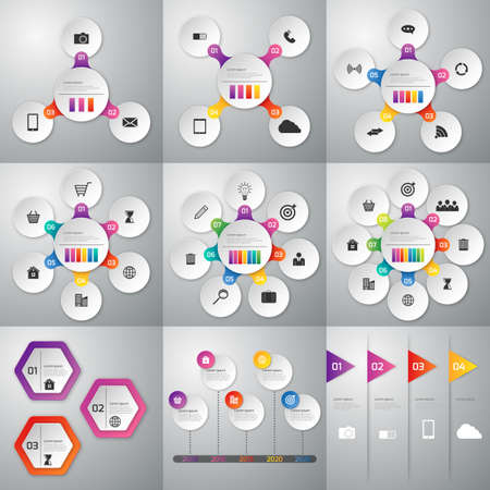 5 6: A set of illustrations of infographics . Templates for 3, 4 , 5, 6 , 7, 8 options. stock vector.
