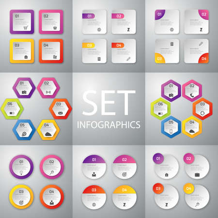 chart graph: Vector illustration infographics set . Patterns 4 and 6 options.