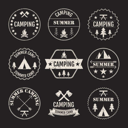 outdoor fire: Vector illustration set of logos on the theme of camping.