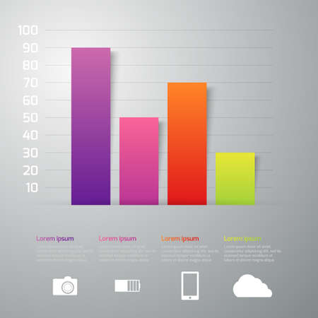 Vector illustration infographics 4 rectangles interest.
