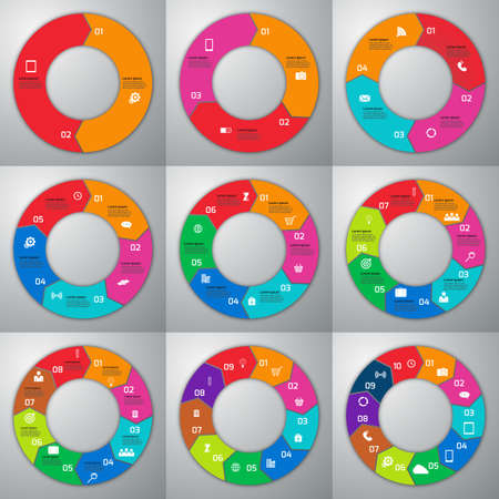 3d circle: Stock Vector set of infographics . Patterns 2 , 3, 4 , 5, 6 , 7, 8 , 9, 10 Options.