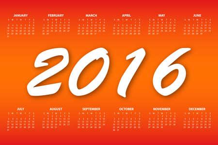electronic organiser: Calendar for the year 2016. Vector illustration.