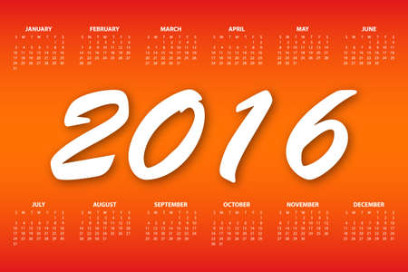 Calendar for the year 2016. Vector illustration.