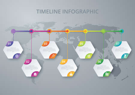 Vector illustration infographics timeline of the hexagons.