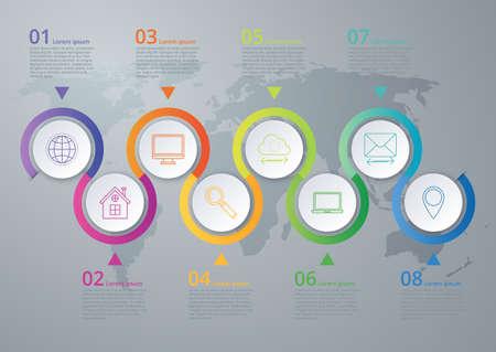 Vector illustration infographics eight options.