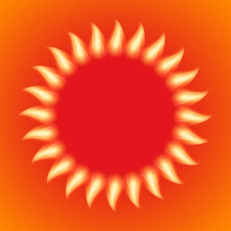 beam with joy: Vector illustration of a fiery sun.