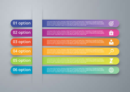 number six: Vector illustration infographics six options.