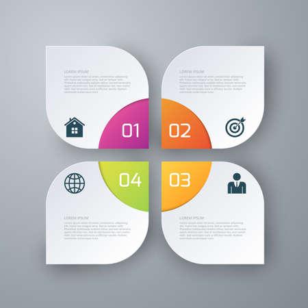 cuadrados: Ilustración vectorial Infografía cuatro plazas Opciones.