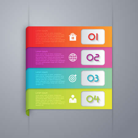 paper art projects: Vector illustration infographics four options.