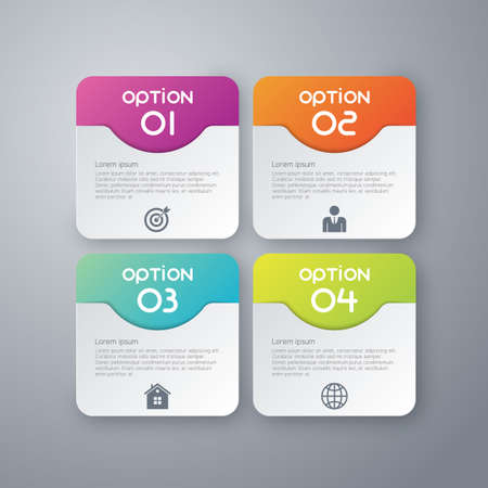 rectangle: Vector illustration infographics four rounded rectangle.