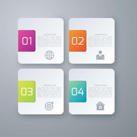 graphic chart: Vector illustration infographics four options squares. Illustration