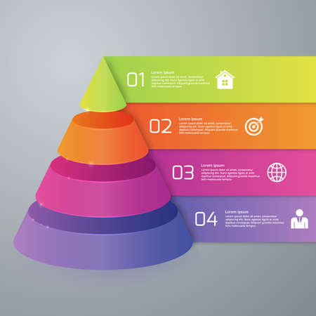 Vector illustration infographics four options pyramid. Ilustrace