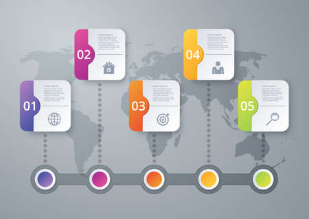 Vector illustration infographics timeline of squares.