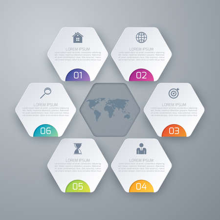 success strategy: Stock options infographics six hexagons.
