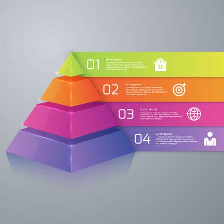 Vector illustration infographics four options pyramid.  イラスト・ベクター素材
