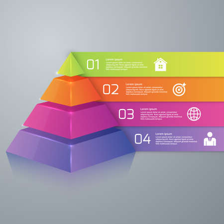 Vector illustration infographics four options pyramid. Stock Illustratie