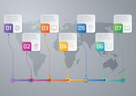 Vector illustration of a timeline infographics seven options.