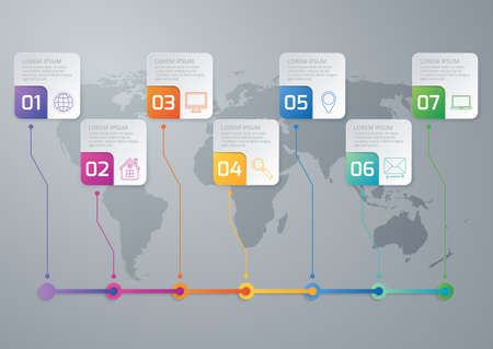 Vector illustration of a timeline infographics seven options.