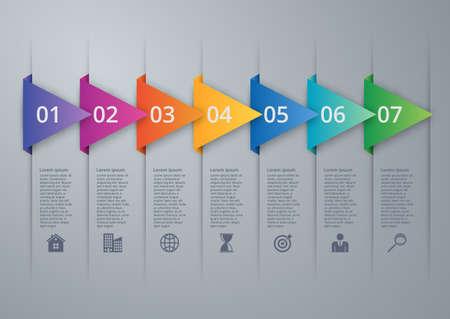 Vector illustration infographics seven options. Reklamní fotografie - 47623660