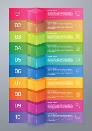 ten: Vector illustration infographics ten options.