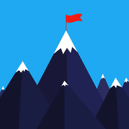 Vector illustration of success. Success business concept. Top of the mountain with red flag.