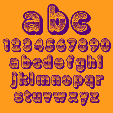 pointillism: Stock Vector font pointillism. Letters and Numbers.