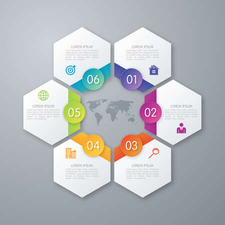 step by step: Stock options infographics six hexagons.