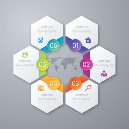 step: Stock options infographics six hexagons.