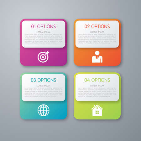 color design: Vector illustration infographics squares with rounded corners.