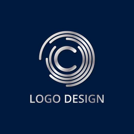 Stock logo letter c of silver. Vector illustration.