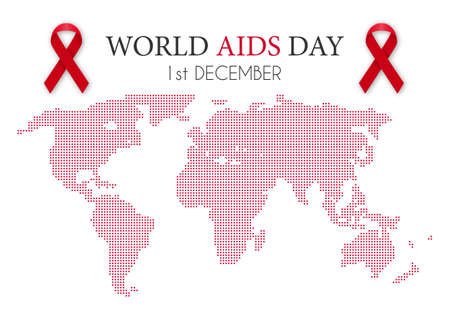 incurable: Vector illustration of world aids day. World map.