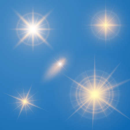 Vector illustration of an abstract set of images of light and flashes. Иллюстрация