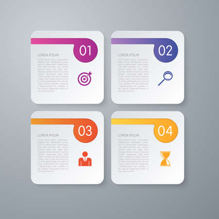 website backgrounds: Vector illustration infographics four options square