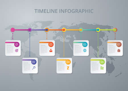 Vector illustration infographics timeline seven options