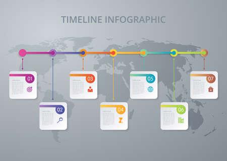 Vector illustratie infographics tijdlijn zeven opties Stockfoto - 49544906