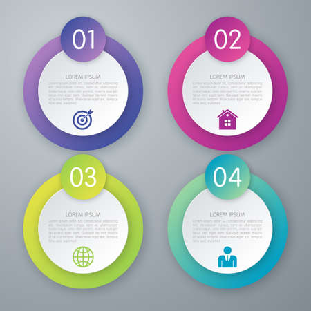 circle objects: Vector illustration of four options infographics circle