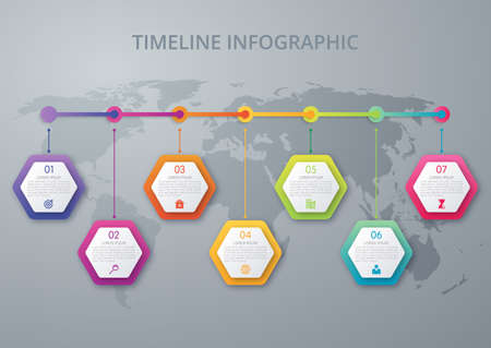 Infographic design template. Business concept with 7 options, parts, steps or processes. Can be used for workflow layout, diagram, number options, web design.