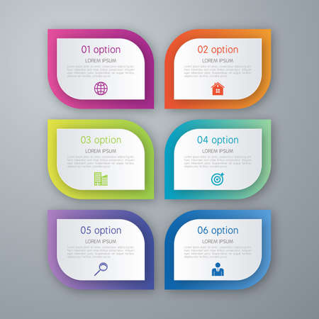 Simple stylish multicolor rounded rectangle labels backgrounds 6 step infographics mockup template. Infographic background concepts collection.
