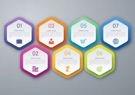 Infographic design template. Seven options. Stock vector  イラスト・ベクター素材
