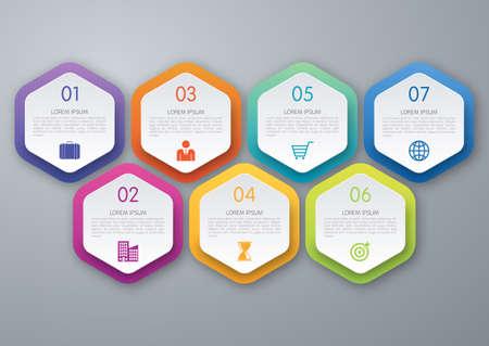 Infographic design template. Seven options. Stock vector Иллюстрация