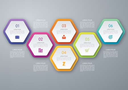 Vecteur cercle infographique hexagone. Modèle de diagramme, graphique, présentation et graphique. Business concept avec 6 options, parties, étapes ou processus. Abstract background. Banque d'images - 50461121