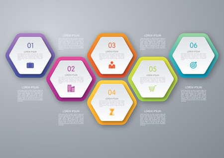 Vektorkreis Sechseck infografisch. Vorlage für Diagramm, Grafik, Darstellung und Diagramm. Business-Konzept mit 6 Optionen, Teile, Schritte oder Prozesse. Abstrakter Hintergrund.