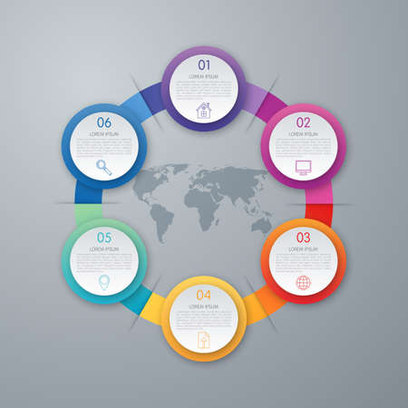Infographic design with colored and white circles on the grey background. Eps 10 vector file. Illustration