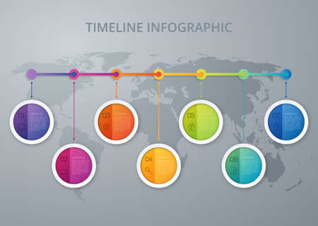 Timeline infographics template. Colorful modern design. Vector illustration Reklamní fotografie - 51284250