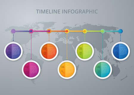 timeline: Timeline infographics template. Colorful modern design. Vector illustration