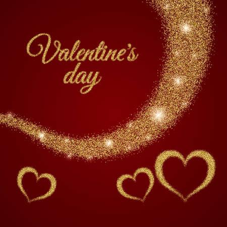 valentine s: Valentine s Day text. Vector illustration of Valentine Greeting Card. Golden typography.