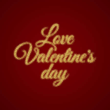 valentine s day: Valentine s Day text. Vector illustration of Valentine Greeting Card. Golden typography.