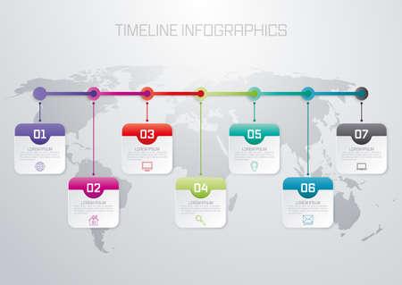 7 つのオプション ベクトル図のインフォ グラフィックのタイムラインです。